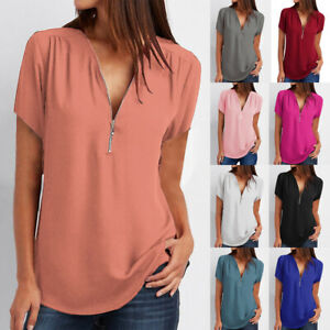 Womens-V-neck-Zipper-Chiffon-Tee-Plain-T-Shirt-Ladies-Short-Sleeve-Blouse-Tops