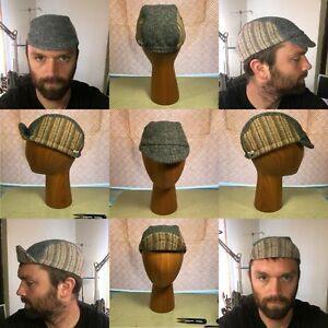Image is loading Handmade-Reworked-Vintage-Harris-Tweed-Cycling-Cap-L- fea15207a60