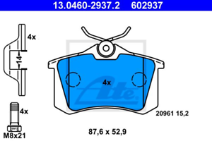 Scheibenbremse für Bremsanlage Hinterachse ATE 13.0460-2937.2 Bremsbelagsatz