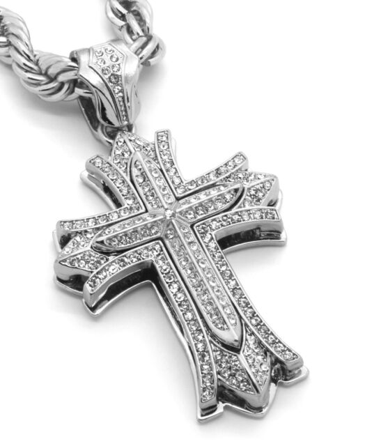 """Mens Large Thick Cross Silver Plated Iced Out Pendant 30""""Necklace Rope Chain G07"""