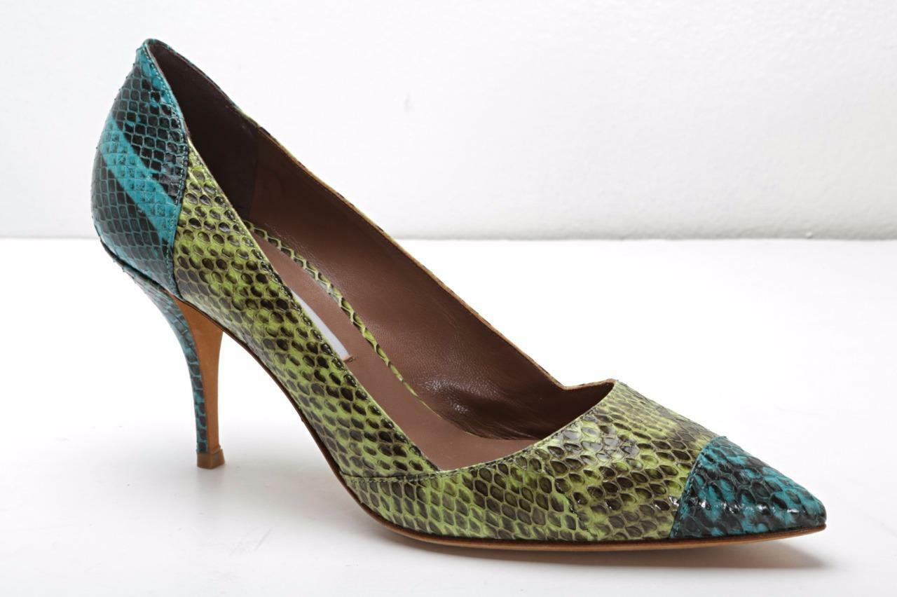 TABITHA SIMMONS Womens Green bluee Snakeskin Pointed-Toe Pumps 8.5-38.5 NEW