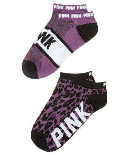 2 Pairs Victoria/'s Secret PINK Purple /& Black Leopard Low No Show Athletic Socks