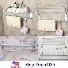 Double Aluminum Wall Mounted Bar Bathroom Towel Rail Storage Rack Shelf