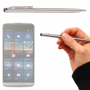 Dual-Point-Silver-Stylus-amp-Ball-Point-Pen-For-HP-Elite-X3-Smartphone