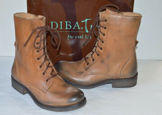 85c8dc39f9 New $169 Diba True Jump Back Tan Leather Combat Boots Vintage/Distressed Lace  Up