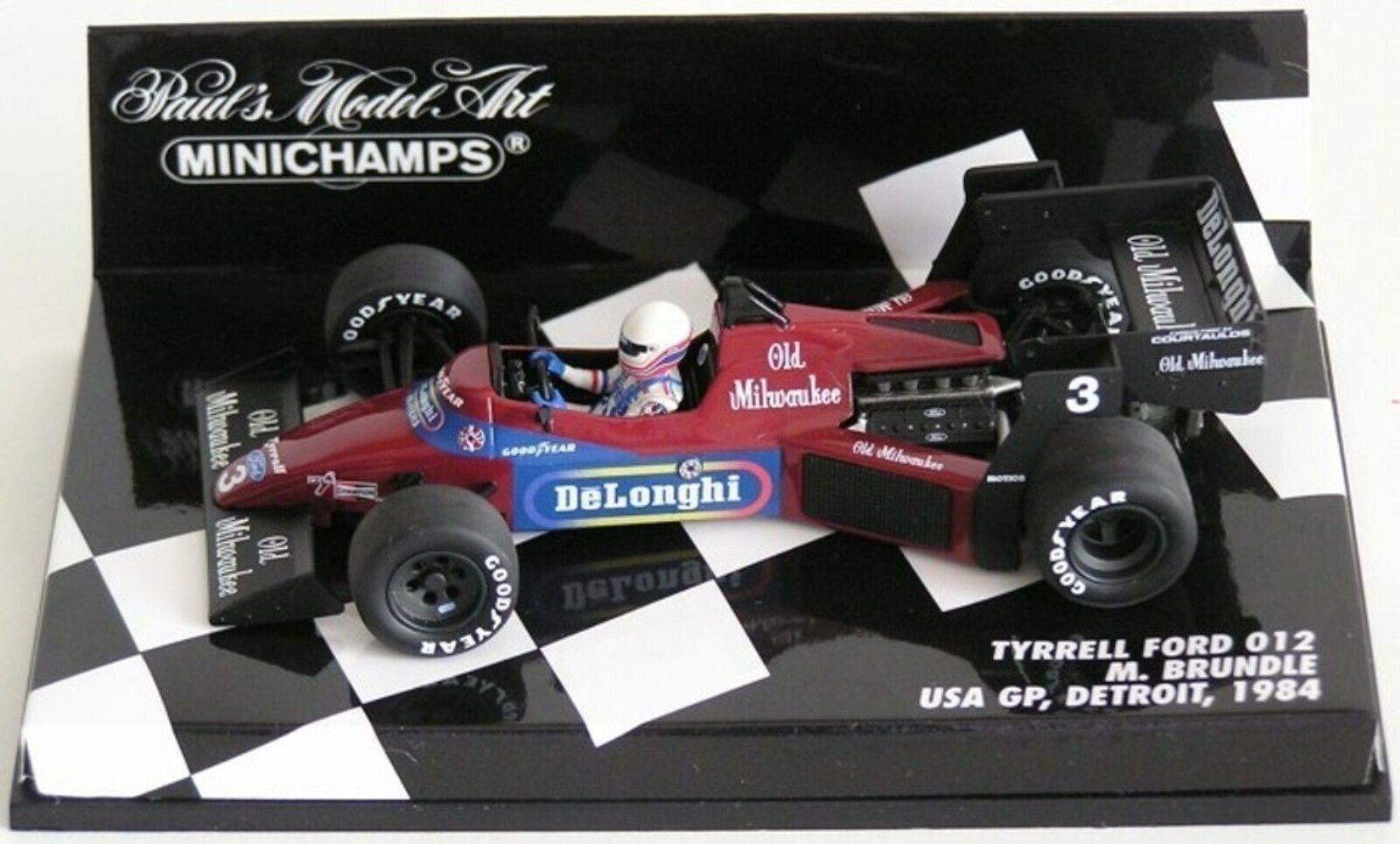 WOW estremamente raro TYRRELL 012 FORD BRUNDLE USA GP DETROIT 1984 1 43 Minichamps