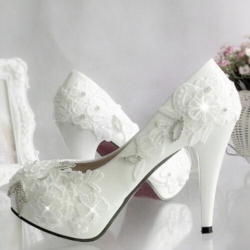 Lace Gems Wedding Formal Bridal bridesmaid Event Pump High Low Heels flat shoes