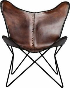 Image Is Loading Brown Leather Butterfly Arm Chair Butterfly Leather  Armchair