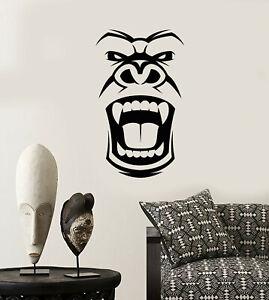 Vinyl Wall Decal Gorilla Evil Monkey Head Face African Mask Stickers 3580ig Ebay