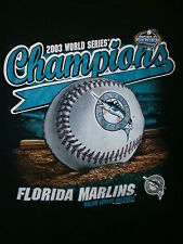 FLORIDA MARLINS 2003 WORLD SERIES CHAMPIONS T SHIRT Old Original Logo Colors LG
