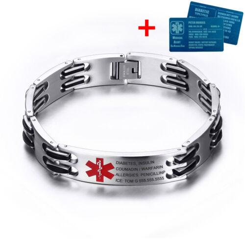 "Custom 8.7/"" Inoxydable Médical D/'Urgence Alerte ID Bracelet Avec Aluminium ID Card"
