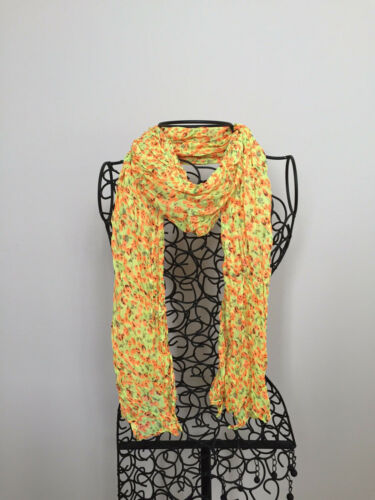 Small flower wrinkle scarf Yellow