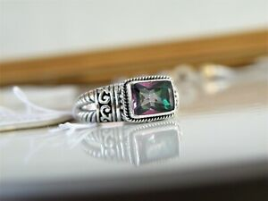 New-Tags-Annika-Witt-Sterling-Silver-925-Bali-Cable-Rainbow-Quartz-Ring-Size-8