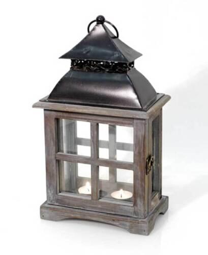 Laterne aus Holz /& Metall braun gewischt Höhe 36 cm Windlicht
