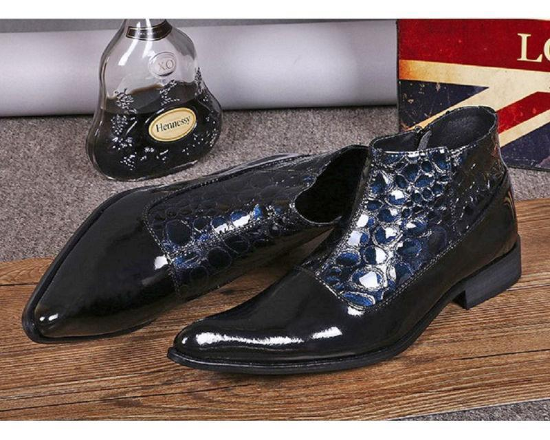 Fashion Navy Patent Pelle Uomo Dress Zip Ankle Stivali Shoes Shoes Shoes   Size 5-12 b333 3f8016
