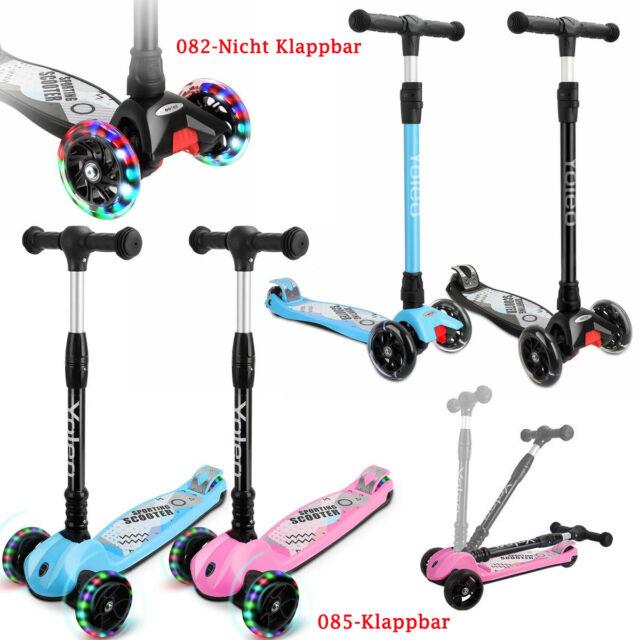 Kinder Roller Scooter Klappbar LED Räder Cityscooter Tretroller Dreiradscooter