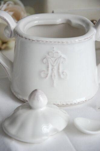 Zuckerdose Dose mit Deckel Monogramm Dose Zucker Küche Keramik Shabby Chic