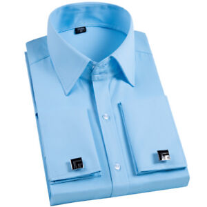 French-cuff-Dress-Shirt-Men-039-s-Fashion-with-Cufflinks-Business-Shirts-Twill-GT440