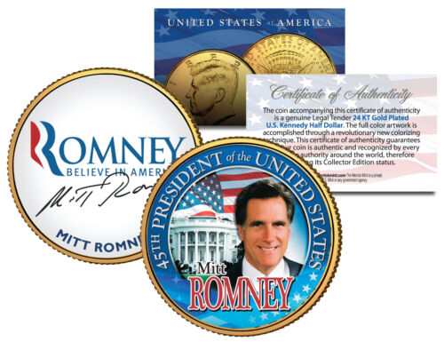 President MITT ROMNEY 24K Gold Plated JFK Half Dollar Colorized Coin RARE PROMO