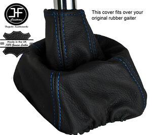 Gear /& Handbrake Gaiter Black Genuine Leather Blue RS Embroidery