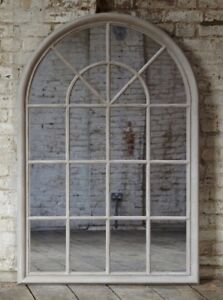 Large Arched Grey Window Shape Arch Mirror Gothic 130cm