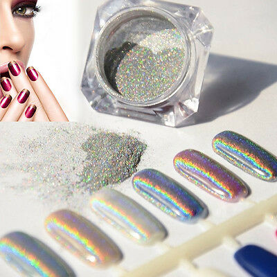 1g/Box Glitter Rainbow Holographic Laser Powder Nail Chrome Pigments Decoration