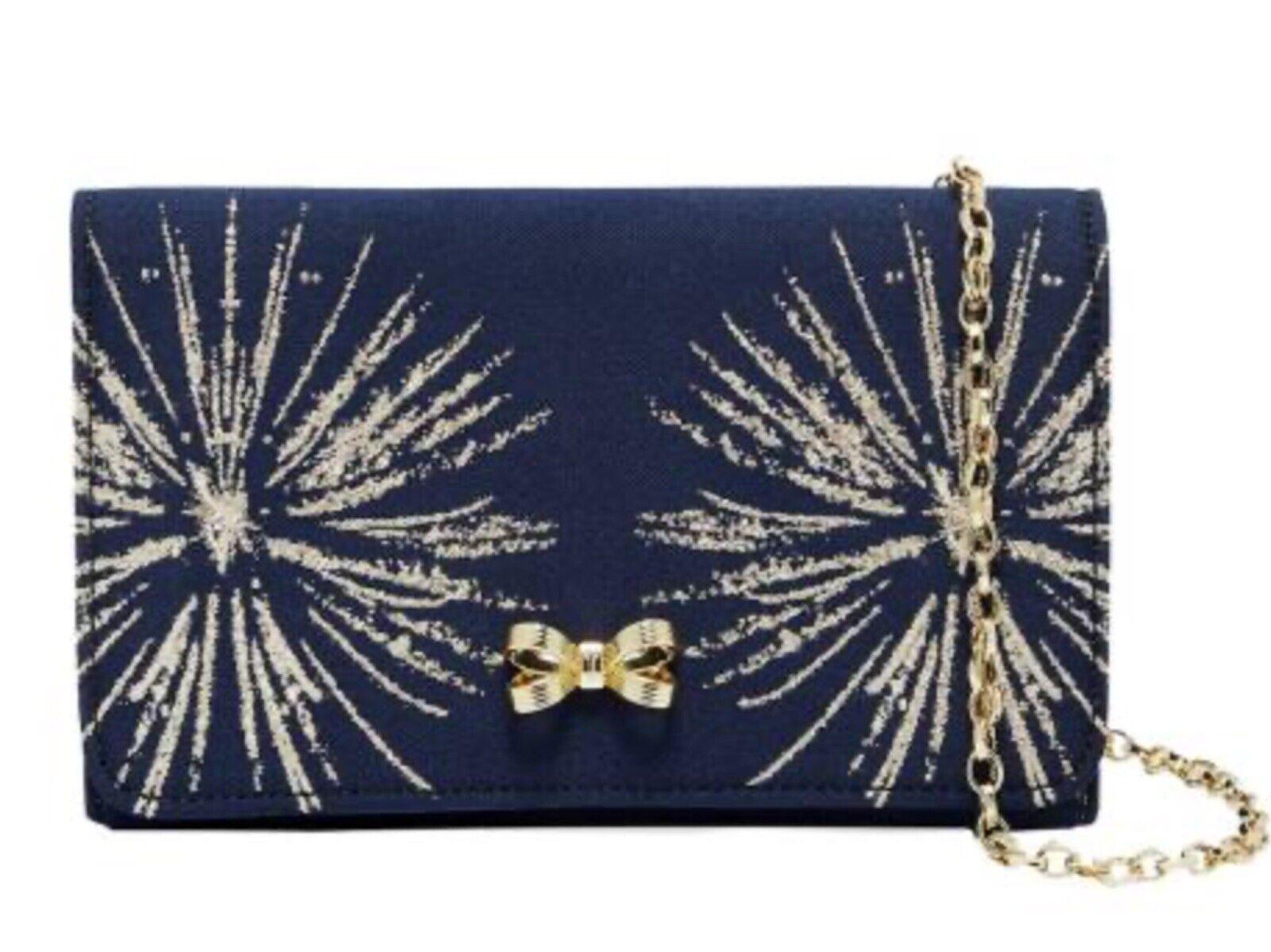 TED BAKER Dark Blue Starla Stardust Bow Evening Bag Rrp