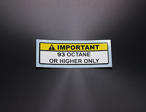 or Higher Octane Gas Gasoline Fuel Tank Sticker Decal Warning Label 92