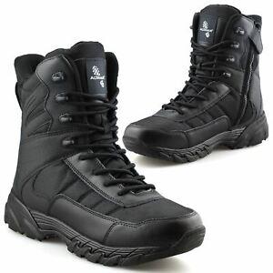 Homme-en-cuir-neuve-Militaire-Armee-Combat-Marche-Travail-Fermeture-Eclair-Cheville-Bottes