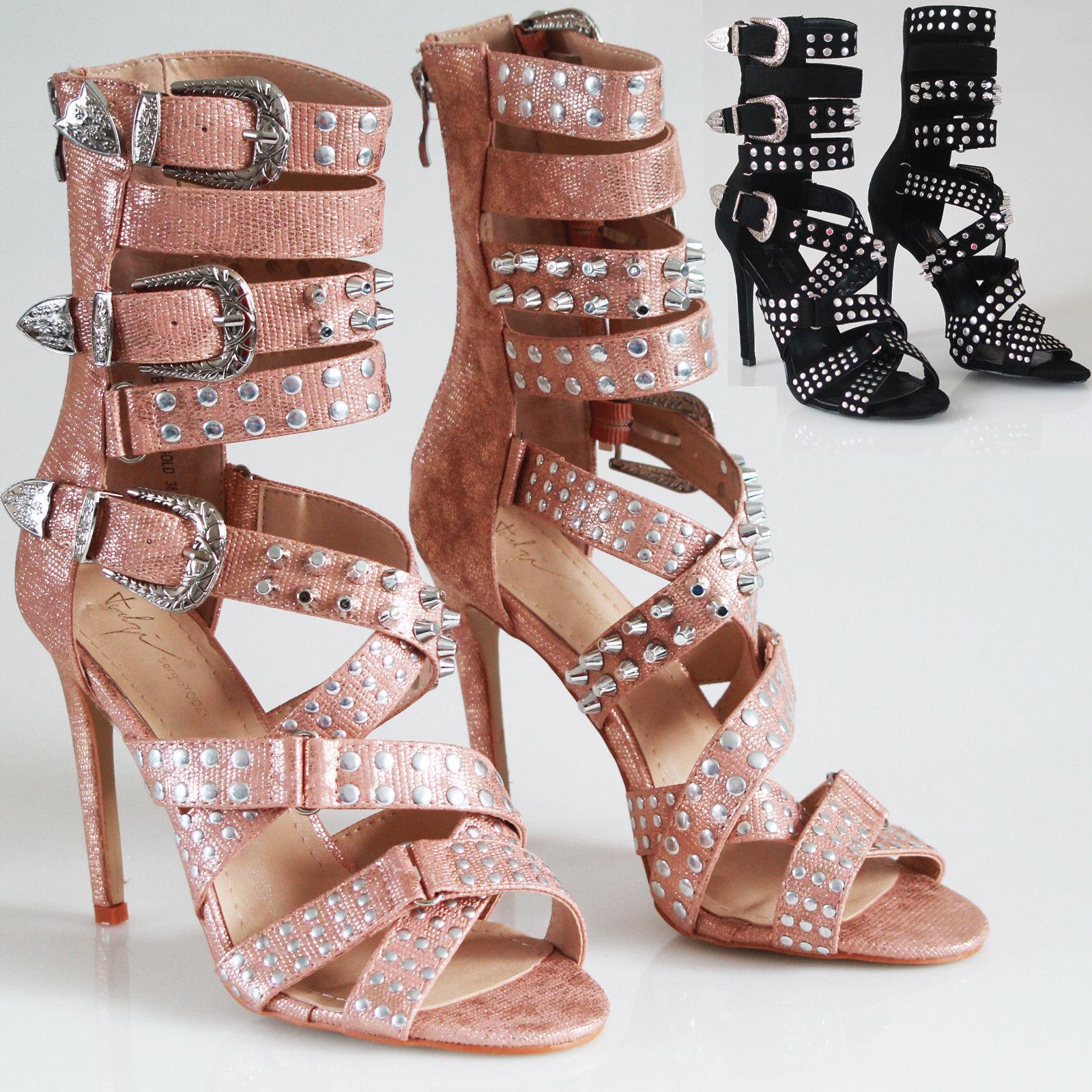 Girls Womens Heels Studded Ankle Strap High Heels Womens Rivet Gladiators Pointy Sandal Shoes 732c8f