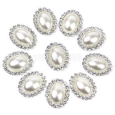 10 Rhinestone Diamante Button Oval Pearl Flat Back Wedding Craft Decoration