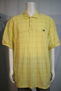 ce89e713f Chaps Men's 2XL Yellow Blue Thin Window Pane Plaid SS Golf Polo ...