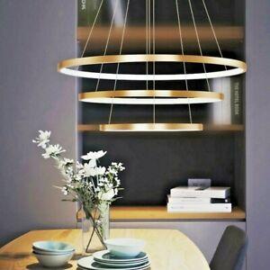 Details About Luxury Italian Modern Led Gold Black Ring Light Chandelier Pendant Lighting Room