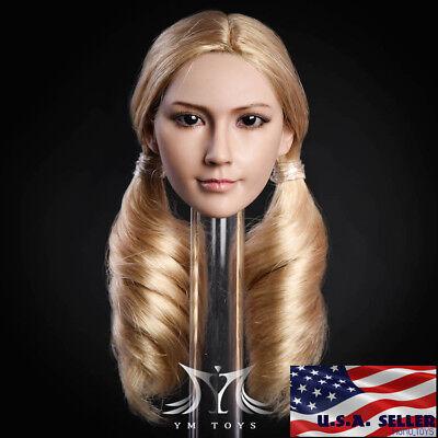 "1//6 American Female Head Sculpt Blonde Hair For 12/"" TBLeague PHICEN Figure ❶USA❶"