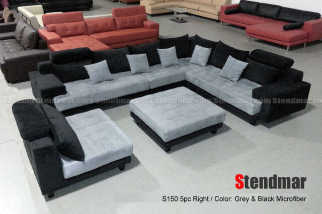 Cool 5 Piece Contemporary Microfiber Linen Fabric Sectional Sofa Set S150Rne Gmtry Best Dining Table And Chair Ideas Images Gmtryco