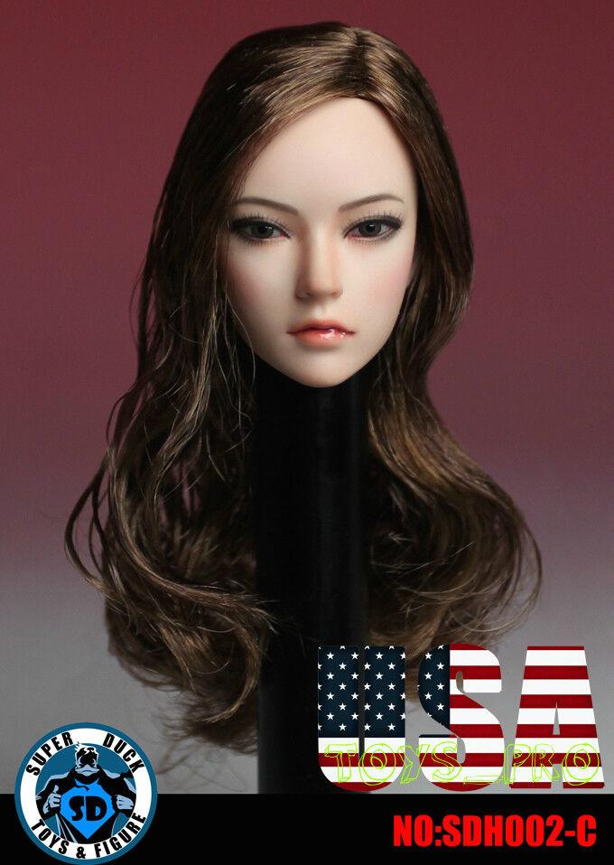1 6 Female Head Sculpt Brown Hair SDH002C For 12  TBLeague PALE Figure ❶USA❶
