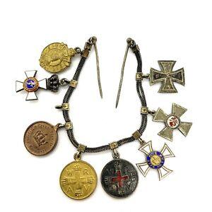 WW1-Set-Of-8-German-Enamel-Silver-Order-Medals-Mini