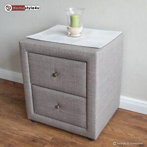 Details zu Nachtschrank Nachttisch Schlafzimmer Nachtkommode Beistelltisch  grau Stoff