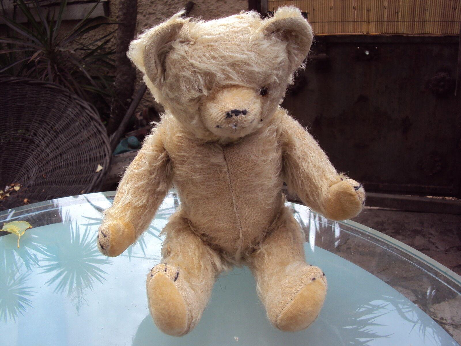 Ancien ours en paille Teddy Bear