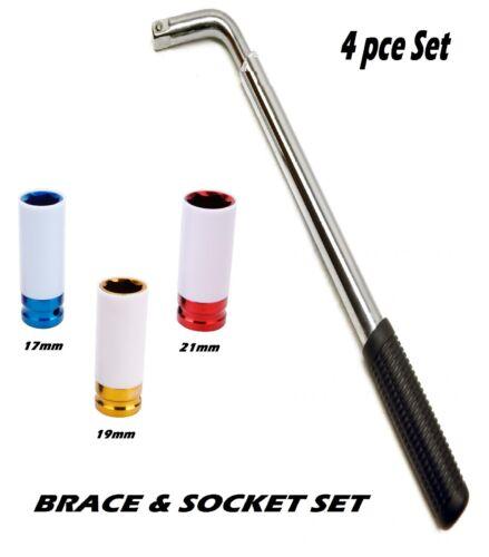 "Extendable Wheel Brace 21/"" Bar 17mm 19mm /& 21mm 1//2/"" Drive Alloy Wheel Sockets"