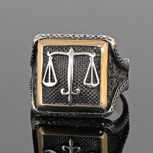 925 Sterling Silver Mens Ring Scales Of Justice Libra Free Resizing Spectrum Ag Com