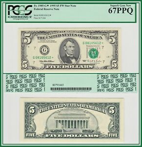 1995-Star-5-Chicago-Federal-Reserve-Note-PCGS-67-PPQ-Superb-Gem-New-Unc-FRN