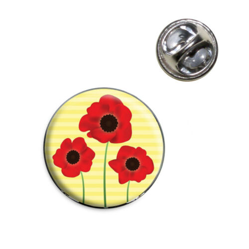 Red Poppies Flower Lapel Hat Tie Pin Tack