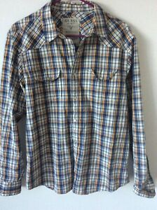88213f919e Mens Western Shirt Sz M GUESS JEANS Pearl Snaps Plaid Rodeo Square ...