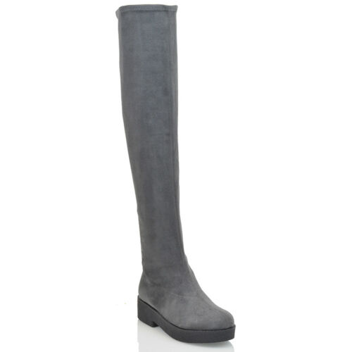 Womens Over The Knee Boots Ladies Flat Biker Stretch Zip Winter Cleated Shoes