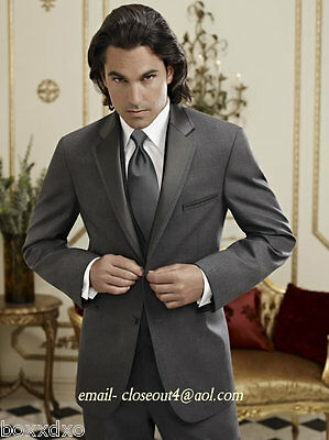 "NEW Jean Yves STEEL GRAY ""TWILIGHT"" Charcoal Tuxedo  Suit Slim-Fit 2-Button Grey"