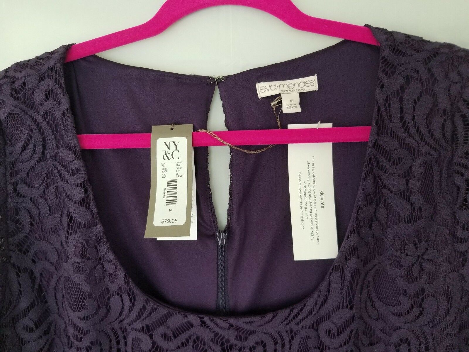 NEW NEW NEW YORK & COMPANY  PURPLE LACED DRESS EVA MENDES COLLECTION SIZE 18 (NWT) 77a6db
