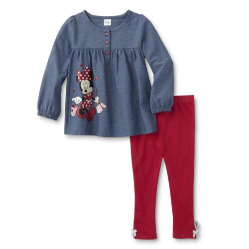 New Disney Minnie Mouse Infant Girls/' Chambray Top /& Leggings 3M 6M 9M