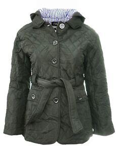 Size 18 20 Womens Purple Jacket Quilted Coat Parka Buttons Belt Hood Parker