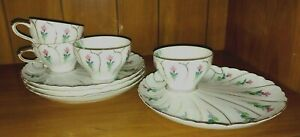 Set of Four Vintage Hand Painted Snack Plates & Cups  - Ucagco - Made in Japan